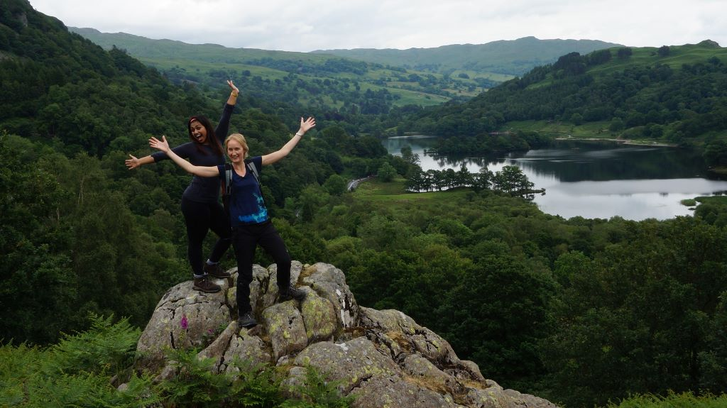 Grasmere yoga and hiking white moss posing
