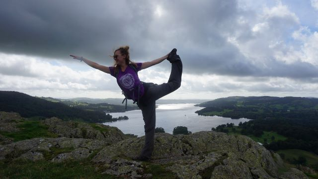 Yoga pose overlooking windermere
