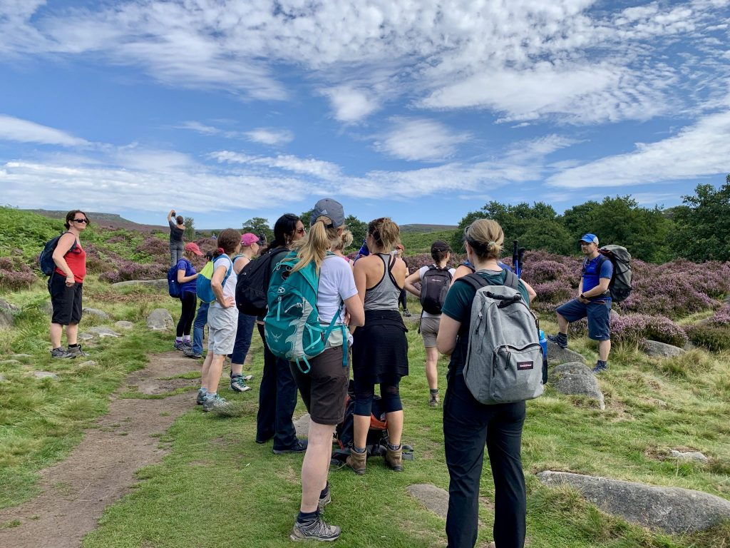 Peak District Yoga Hikes - Richard Briefs the group